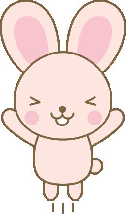 喜ぶうさぎのイラスト<ピンク>