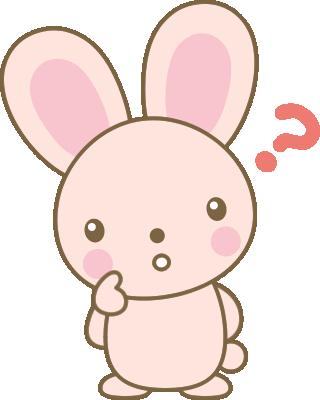 考えるうさぎのイラスト<ピンク>