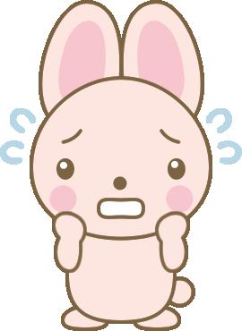 焦るうさぎのイラスト<ピンク>
