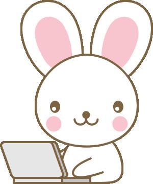 PC(パソコン)をするウサギのイラスト<白>