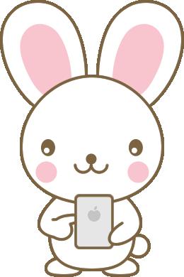 スマホを操作するウサギのイラスト<白>
