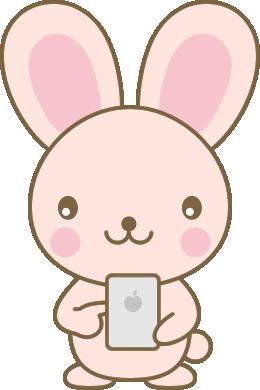 スマホを操作するウサギのイラスト<ピンク>