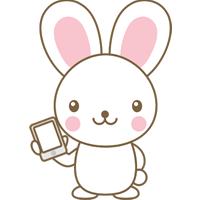 スマホを持ったウサギのイラスト