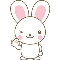 OK(オッケーポーズ)をするウサギのイラスト