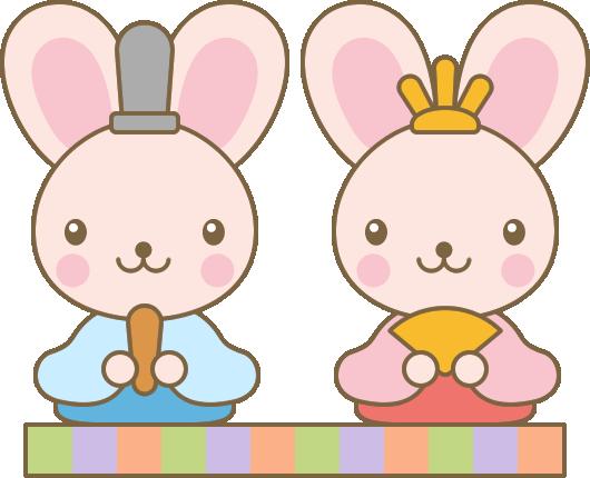 [ひな祭りイラスト]うさぎの雛人形(お内裏様・お雛様)