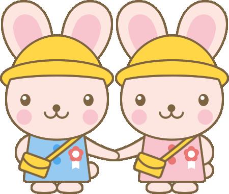 うさぎ(幼稚園生)の卒園式・入園式イラスト<ピンク>