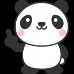 指差しポーズをするパンダのイラスト