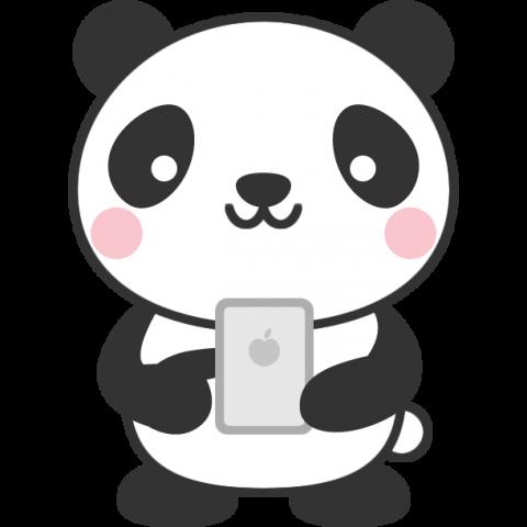 スマホを操作するパンダのイラスト