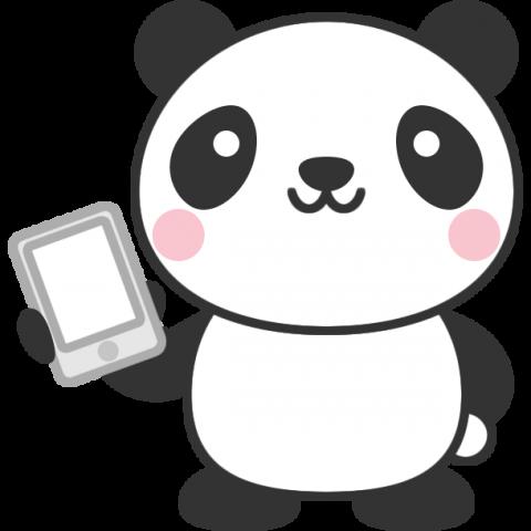 スマートフォンを持ったパンダのイラスト