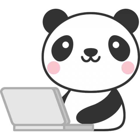 パソコンをするパンダのイラスト