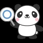 マル印(正解マーク)の札を持ったパンダのイラスト