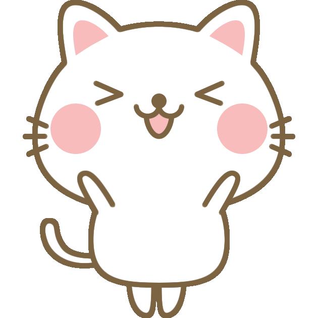 ジャンプして大喜びする猫のイラスト