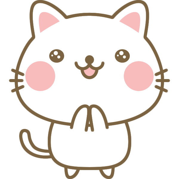 感激・感動している猫のイラスト