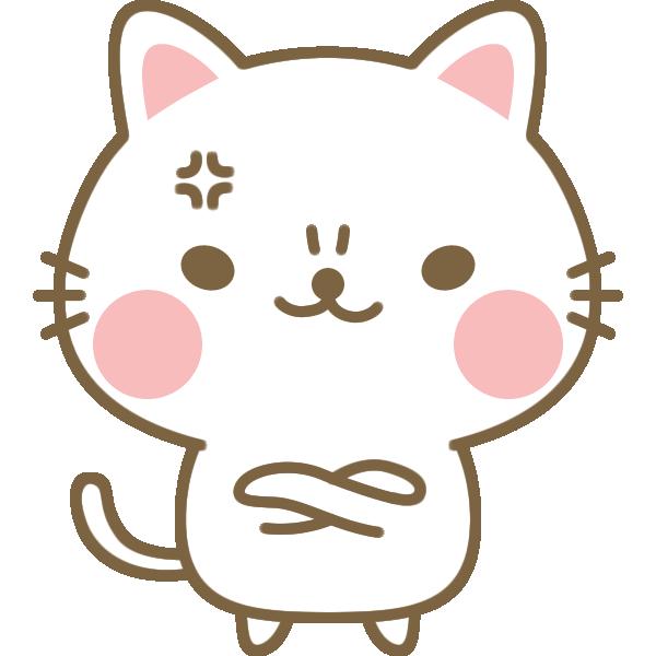 腕組みして怒る・怒る猫のイラスト