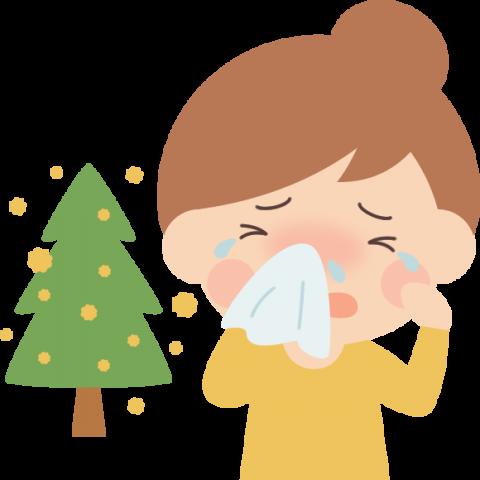 花粉症の女性とスギ花粉イラスト(鼻水・目のかゆみ)