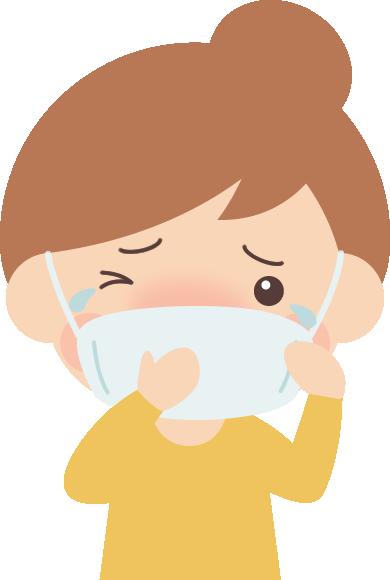 マスクで花粉症対策をする女性のイラスト