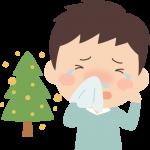 花粉症の男性イラスト(鼻水・目のかゆみ)
