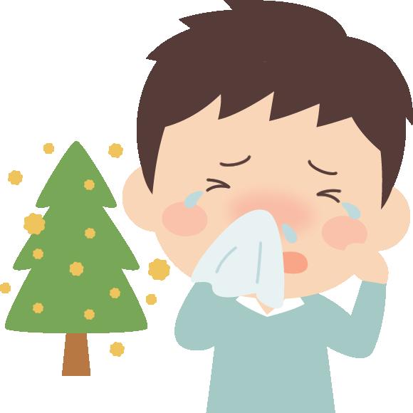 花粉症の男性と杉花粉のイラスト(鼻水・目のかゆみ)