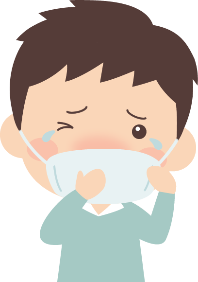 マスクで花粉症対策をする男性のイラスト