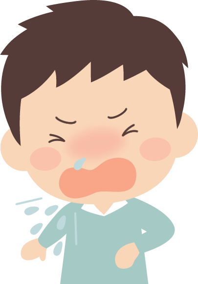 花粉症になってくしゃみをする男性のイラスト