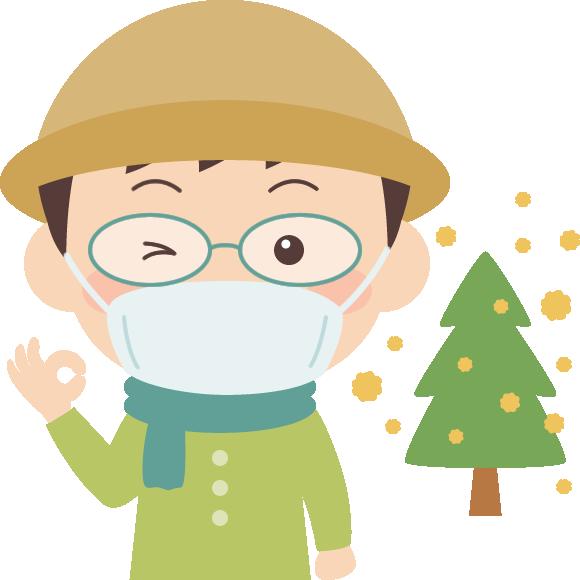 花粉症対策をした男性とスギ花粉のイラスト