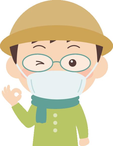花粉症対策をした男性のイラスト