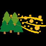 飛散するスギ花粉のイラスト
