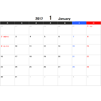 2017年(平成29年)エクセルExcel月間(月別)カレンダー[月曜始まり]