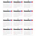 【4月始まり】2017年度エクセル年間カレンダー(月曜始まり)