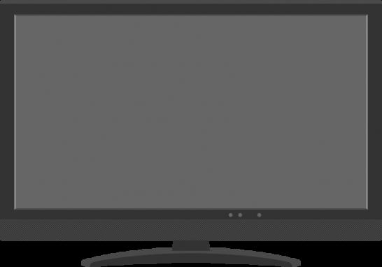 デジタル液晶テレビ(薄型TV)のイラスト<画面:グレー>
