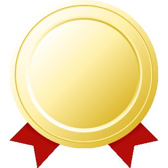金メダル(リボン付き)のフレームイラスト
