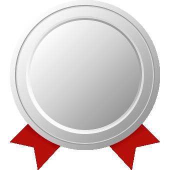 銀メダル(リボン付き)のフレームイラスト