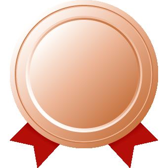 銅メダル(リボン付き)のフレームイラスト