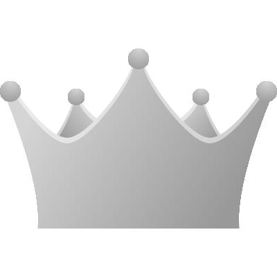 王冠のアイコンイラスト<銀・シルバー>