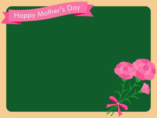 【母の日イラスト】黒板とカーネーションのフレーム枠<ピンク>