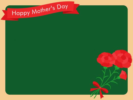 【母の日イラスト】黒板とカーネーションのフレーム枠<赤>