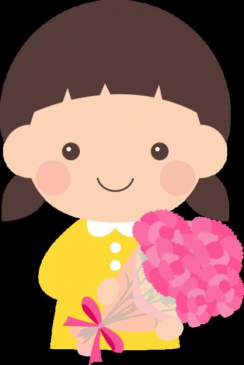 【母の日イラスト】カーネーションを持った女の子<ピンク>