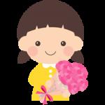 【母の日イラスト】カーネーションを持った可愛い女の子