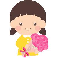 【母の日イラスト】カーネーションを持った女の子