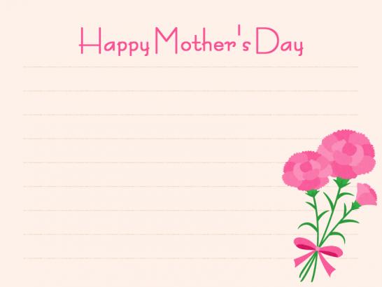 【母の日イラスト】便箋とカーネーションのメッセージフレーム<ピンク>