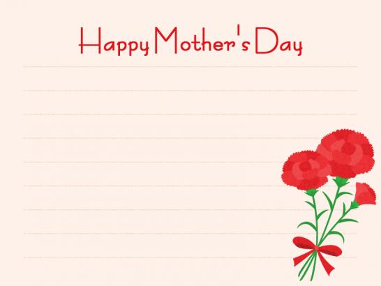 【母の日イラスト】便箋とカーネーションのメッセージフレーム<赤>