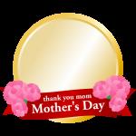 【母の日イラスト】金メダルのフレーム枠イラスト(カーネーション・リボン)