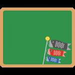 【こどもの日イラスト】黒板と鯉のぼりのフレーム枠