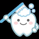【歯のイラスト】歯磨きをする可愛い歯のキャラクター