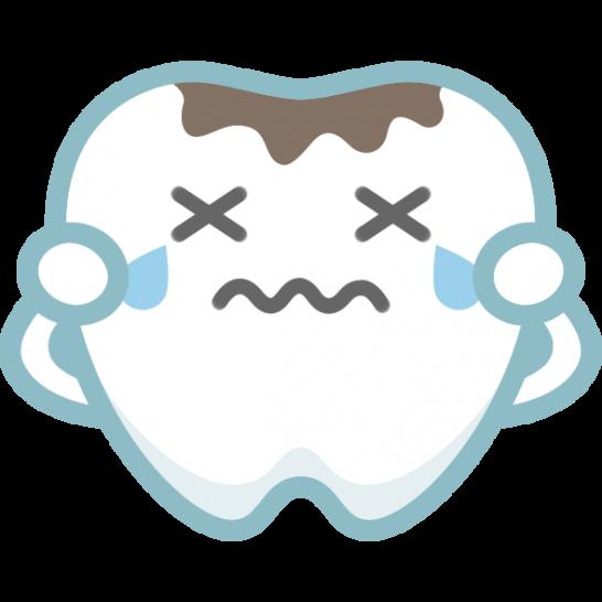 【歯のイラスト】虫歯の痛みで泣くかわいい歯のキャラクター