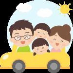 車でドライブ旅行をする家族のイラスト