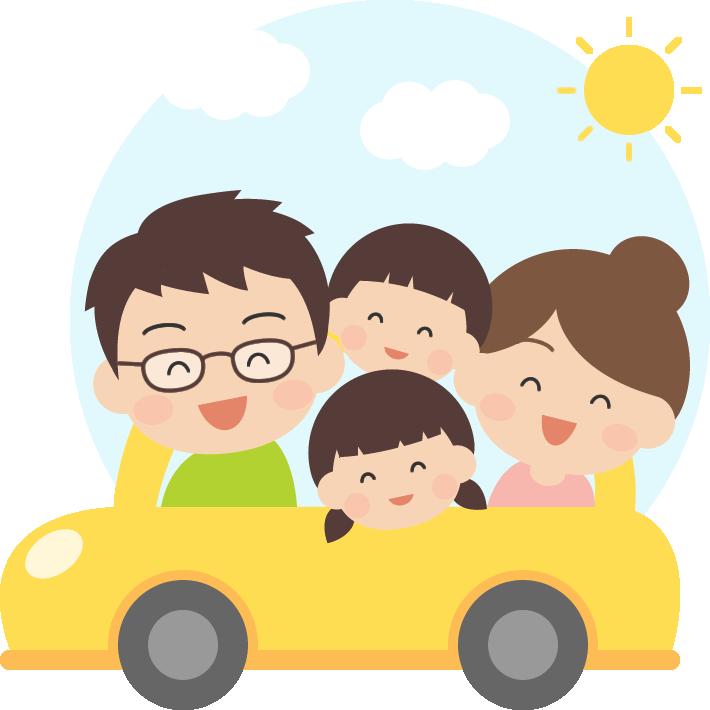車でドライブ・旅行をする家族のイラスト(GW・夏休み)