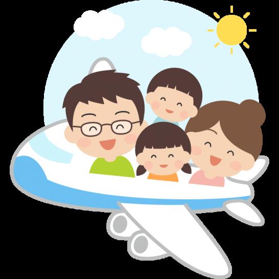 飛行機でドライブ・旅行をする家族のイラスト(GW・夏休み)