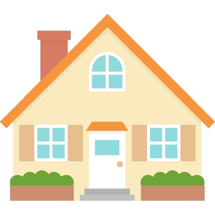 かわいい家のイラスト(三角屋根・煙突)