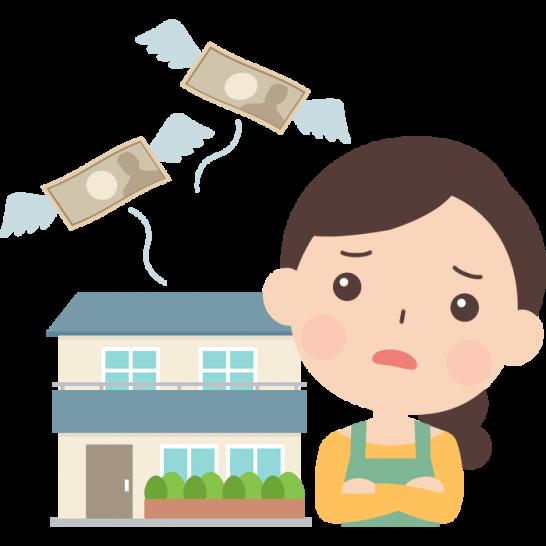 住宅ローン返済に悩む女性のイラスト